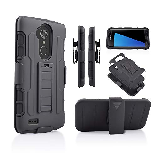 for ZTE MAX XL N9560/ ZTE Blade X MAX/Zmax Pro/Blade Max 3/ ZTE Kirk Z983 Hybrid Rugged Kickstand Grip Armor Tough Dual Layer Case with Belt Clip Holster (Black)