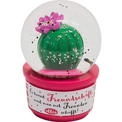 Die Geschenkewelt Gruss und Co 46168 Traumkugel mit Kaktus und Motivdruck am Sockel Es heisst Freundschaft, Silberglitter Schneekugel, Polyresin, Glas, Bunt, Höhe ca. 6,6 cm