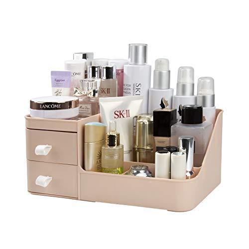 Rangement Maquillage, Organisateur de Cosmétiques avec 2 Tiroirs, Boîte à Bijoux et Support Cosmétique Rangements pour Salle de Bain et Chambre Coiffeuse
