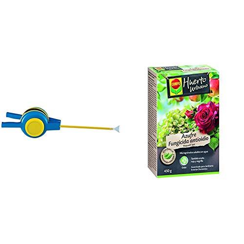 Matabi 80346 Espolvoreador, Azul, 39x19x16 cm + Compo Azufre fungicida anti oídio, Microgránulos solubles en agua, Para plantas ornamentales, arbustos y árboles, Apto para agricultura ecológica, 450 g