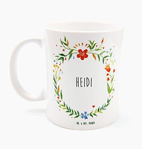 Mr. & Mrs. Panda Tasse Heidi Design Frame Barfuß Wiese - 100% handgefertigt aus Keramik Holz - Anhänger, Geschenk, Vorname, Name, Initialien, Graviert, Gravur, Schlüsselbund, handmade, exklusiv
