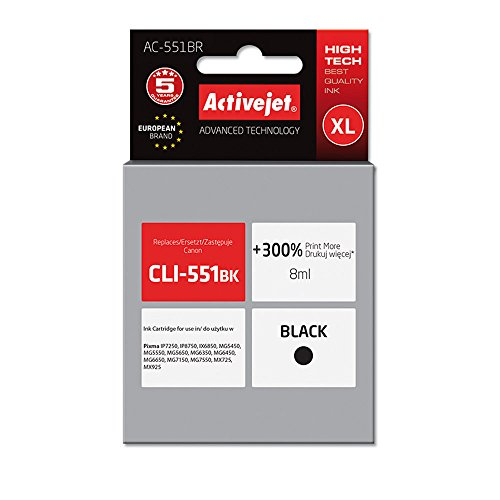 ActiveJet AC-551BR Refill (geeignet für Canon CLI-551Bk) 10 ml, schwarz