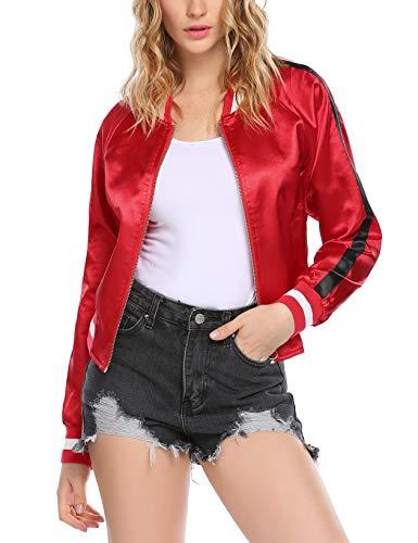 Zeagoo Women Long Sleeve Zip Up Satin Vintage Baseball Bomber Jacket with Pocket Red XL