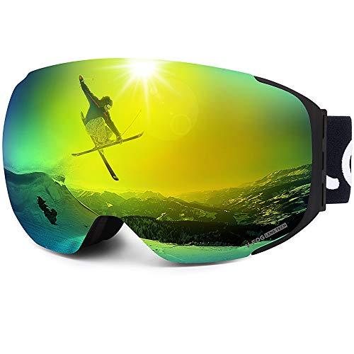 Magnetisch Skimasker voor Mannen en Vrouwen, Anti-condens, Skibril, UV400-bescherming, Dual Sferisch Scherm, Afneembare Riem, Instelbaar Snowboard-masker, Compatibel voor Volwassenen, VLT 15%, LEMEGO