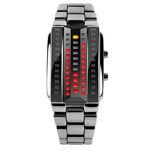 SKMEI reloj de pulsera digital con led para hombres con correa de aleación de zinc, cristal 3D a prueba de golpes, resistente al agua–Plata.