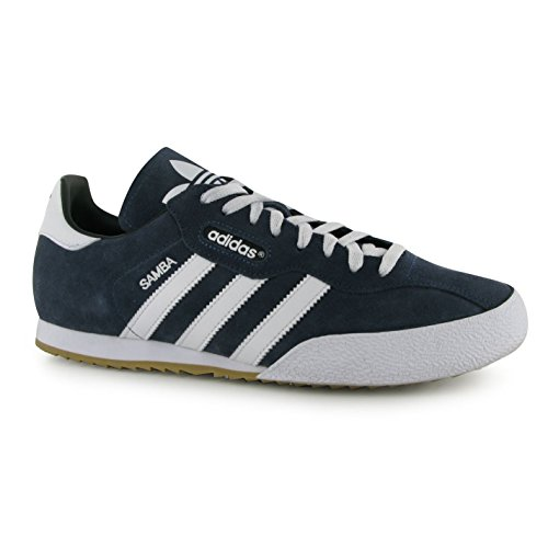 adidas Mens Samba Suede Trainers Lace Up Training Leather Upper Sport Shoes Navy/White UK 10 (44.7)