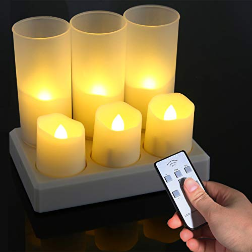 Rechargeable Flameless Candles, Ymenow 6 Packs Battery Operated LED Flickering Tea Lights with Remote Timer, Charging Base & Frosted Cups for Home Wedding Birthday Festivals Dinner Table Party Decor