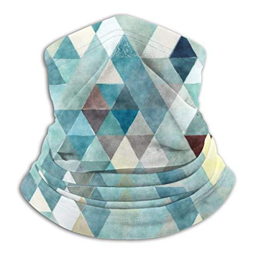 Máscara elástica de acuarela abstracta de color verde azulado triángulo abstracto, máscara elástica, esnood, protector de cuello, bufanda, resistente al viento y al polvo