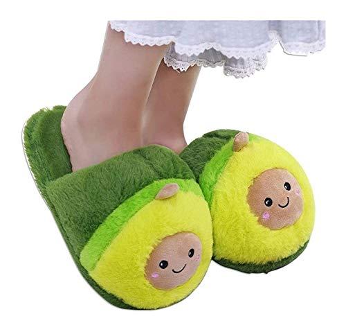 ZOBOLA Kid Doll Aguacate Slippers Fruit Peluche Zapatillas Antideslizante Durable Durable Encantadores Inicio Slippers Invierno Interior Cálido Zapatillas One Tamaño 36-38 para Mujeres Chicas