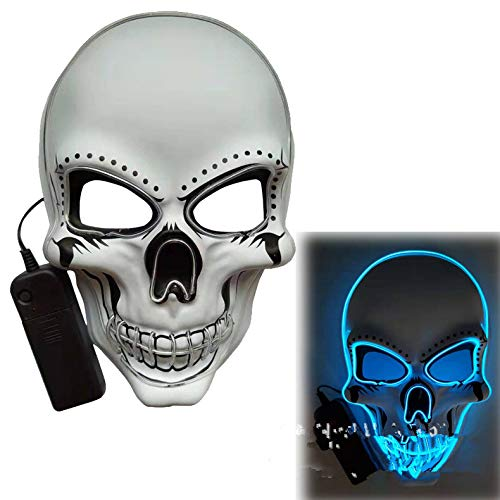 ACHICOO LED Halloween Scary Glow Skeleton Maske Cosplay Party Kostümzubehör Eisblau