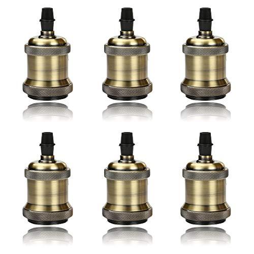 6x GreenSun LED Lighting Vintage Edison Lampenfassung E27 Fassung Deckenfassung Sockel Lampenfuß Retro Hängelampe Halter Pendelleuchte Adapter DIY Lampenzubehör, Bronze