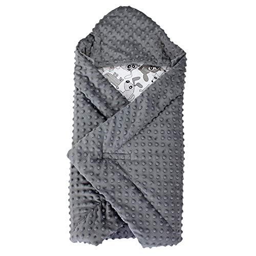 TupTam Baby Winter Einschlagdecke für Babyschale Wattiert, Farbe: Tiere Grau, Größe: ca. 75 x 75 cm