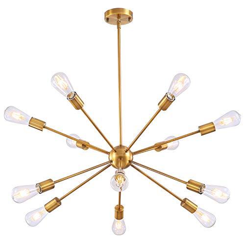 12 Lights Sputnik Chandeliers - Mid Century Pendant Lighting Brushed Brass Modern Chandelier,Ceiling Light Fixture for Living Room Dining Bedroom Kitchen