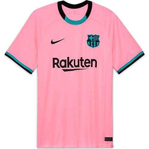 NIKE FC Barcelona Temporada 2020/21-FCB M NK BRT STAD JSY SS 3RCK7819-654 Camiseta Tercera Equipación, Unisex, Pink Beam/Black Full Sponsor, XS