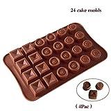 INEP (4 Unidades) de Silicona del Chocolate Moldes para 24 Bloques de construcción Cuadrados Incluso Redondas de Silicona Hielo Molde de celosía Tridimensional Molde de cocción DIY