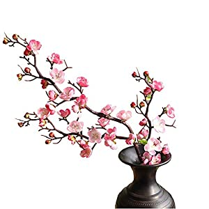 "FightingFly 4Pcs Artificial Cherry Blossom Flowers, 37"" Plum Blossom Peach Branches Silk Tall Fake Flower Arrangements for Home Wedding Centerpieces Decoration,"