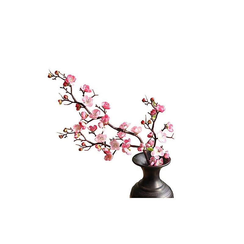 "silk flower arrangements fightingfly 4pcs artificial cherry blossom flowers, 37"" plum blossom peach branches silk tall fake flower arrangements for home wedding centerpieces decoration,"