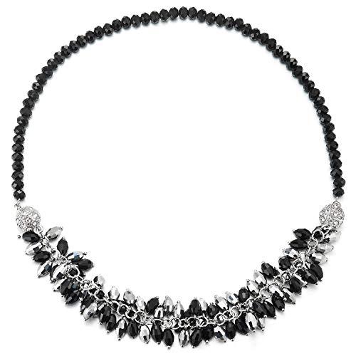 COOLSTEELANDBEYOND Schwarz Choker Statement Halsketten Schwarz Silber Perlen Cluster Kette Magnetverschluss Abnehmbar Zwei Armband