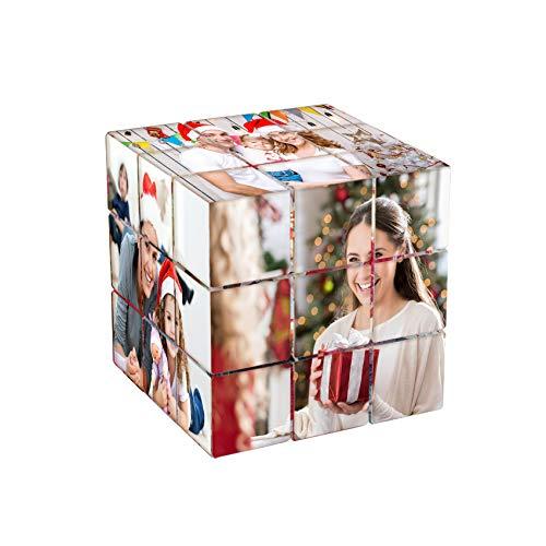 Cubo De Fotos Personalizado Marco De Fotos Personalizado Rompecabezas De Fotos Cubo De Rubik Giratorio 3D Con 6 Imágenes Cumpleaños Navidad Regalos Personalizados Para Niños Padre Madre Novia Novio
