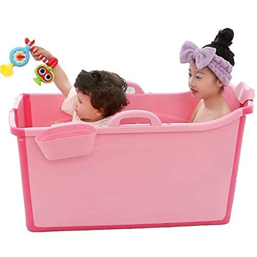 Bañeras independientes Bañera plegable para bebés, Bañera de hidromasaje portátil para baño, Bañera para niños, Material de PVC para la salud, Fácil de llevar, Apto para 0-10 años (Color: Rosa