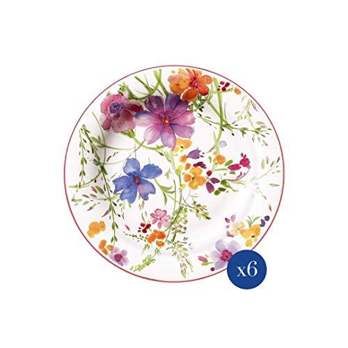 Villeroy & Boch Mariefleur Basic Piatto da colazione, 6 pezzi, 21 cm, porcellana Premium, bianco/multicolore