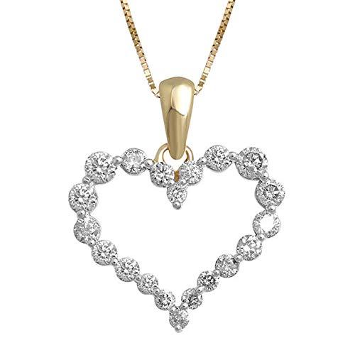 Ani's Collar de cadena con colgante de corazón de plata de 1/2 quilates con circonita blanca en oro amarillo de 14 quilates de 18 pulgadas