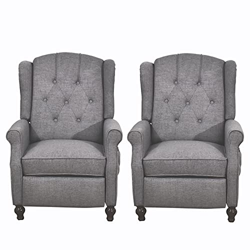 BINGTOO Recliner Chair with Massage and Heat 2 Chairs Set- Accent Chairs for Living Room- Tufted Fabric Push Back Recliner Chair, Footrest and Nailhead Trim, Wooden Legs, Wingback (Double, Gray)