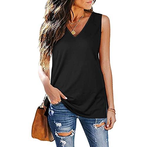 YHIIen Camiseta de tirantes para mujer, informal, para verano, elástica, para correr, fitness, deporte 01-negro XXL