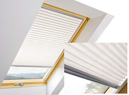 F Fakro APS Faltstore Plisee Hitzenschutz Sonnenschutz stufenlos regulierbar (55 x 78, Weiß 651)