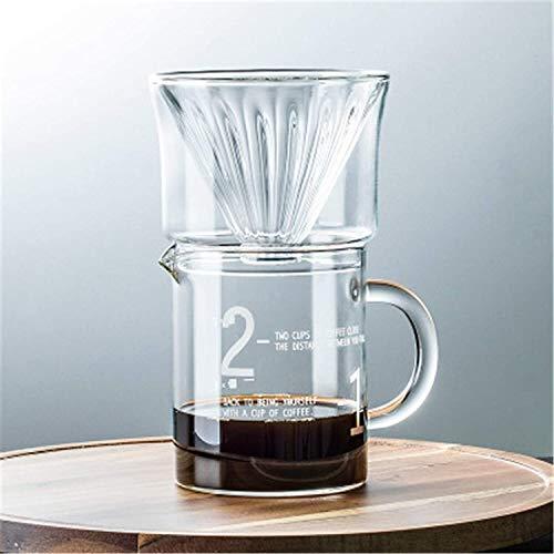 Caffettiere all'inglese Doppia tazza del filtro del caffè in vetro, tazza di caffè in vetro semplice, condivisione del caffettiera del caffettiera set riutilizzabile per l'ufficio domestico all'aperto