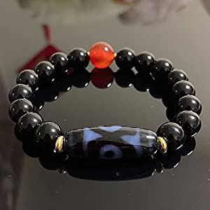 JINKEBIN Armband Natürliche tibetische Dzi agates Armbänder Reiki Heilung Buddha Gebet neun Augen DREI Augen Charme Rot Schwarz Agat Armbänder Männliche Frau (Metal Color : 30mm Three Eye)