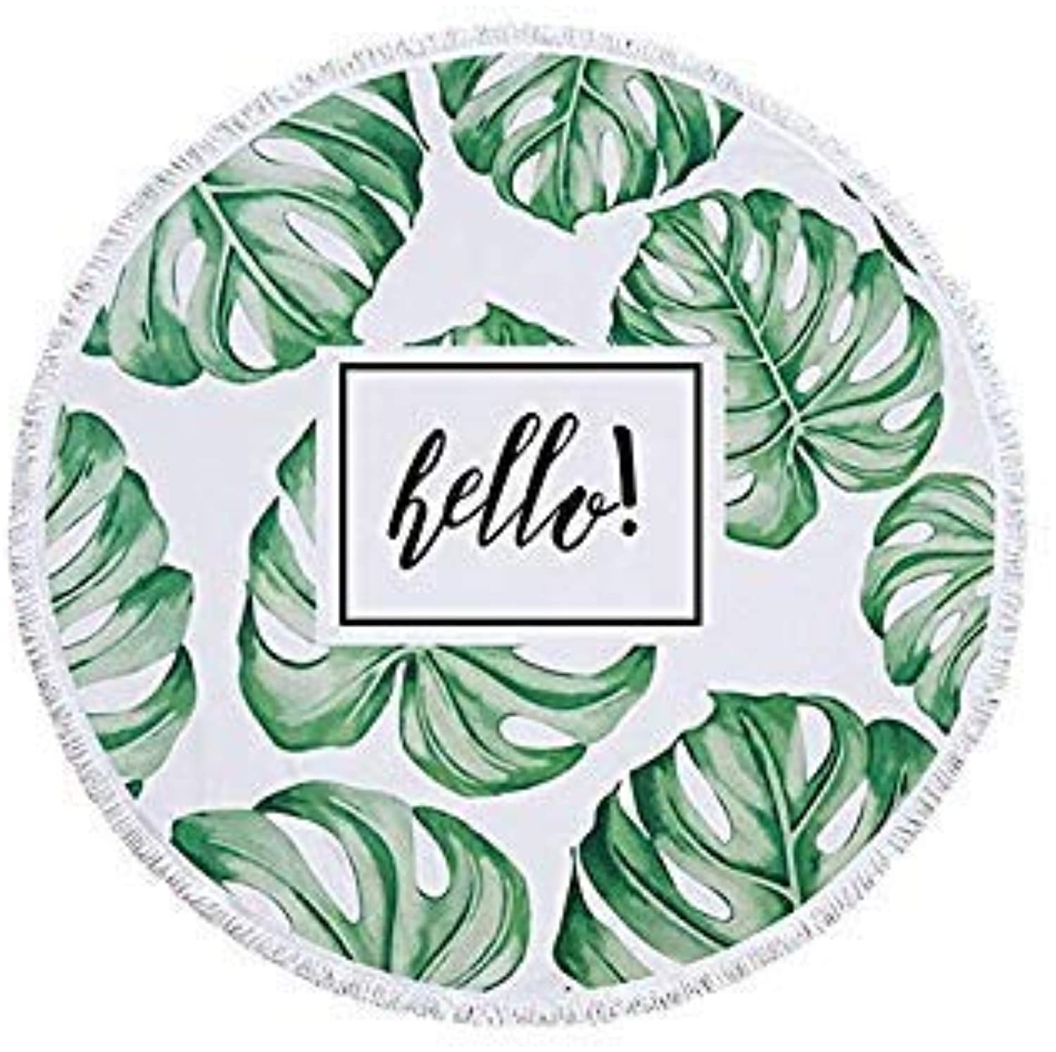 RXRXCOCO Beach Cover Up Plants Leaves Print Bath Shower Towel Swimming Shawl Pareo Beach Mat Toalla De Playa Redonda for Adults color ECP105 Size One Size