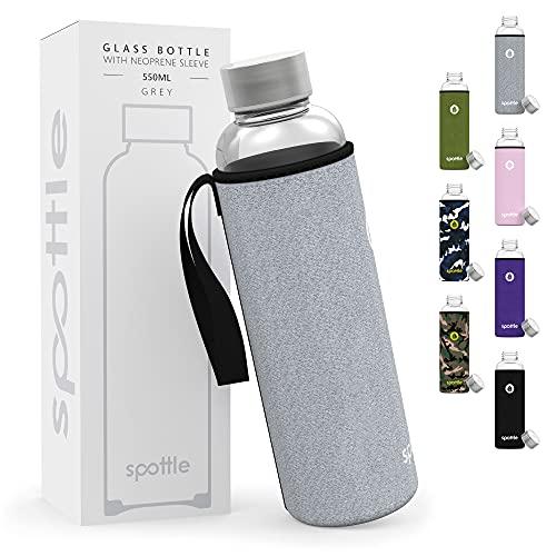 spottle® Glasflasche - Trinkflasche aus Glas mit Neoprenhülle in 550 & 750 ml - spülmaschinenfest und auslaufsicher - ideal für unterwegs, Saft, Sport und Yoga - 100% BPA frei Grau