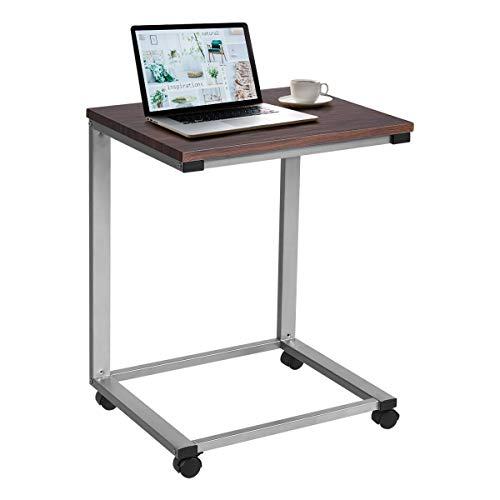 DREAMADE Beistelltisch Laptoptisch mit Rollen, Notebooktisch Betttisch Pflegetisch, Anlagetisch Mehrzwecktisch für Zuhause und Outdoor