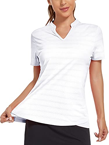 MIER Women's Golf Polo Shirts Collarless SPF 50+ Short Sleeve Athletic Tennis Badminton T Shirts Moisture Wicking Professional Horse Riding Tops White M