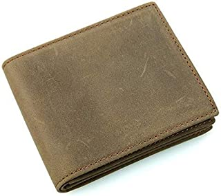 Rfid Wallet For Men Men's Wallet Retro Leather Wallet Leather Short Wallet (Color, Brown, Size, S),Bronze,Small