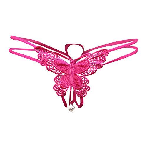 fangfang908 Sexy Schmetterling Sexy Unterwäsche Gestickte Versuchung Dünnen Gürtel Perle Offene Datei Frei Tanga Frauen Rose_Eine Größe