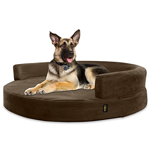 KOPEKS Deluxe Orthopedic Memory Foam Round Sofa Lounge Dog Bed - Jumbo XL - Brown, Model:Round-Sofa-XL