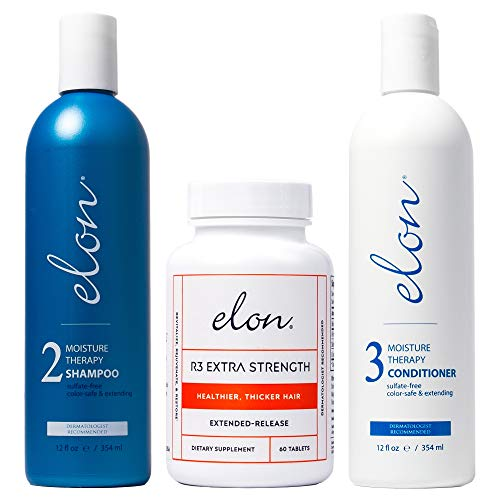 Elon Thinning Hair System - Maintenance   Moisture Therapy Shampoo & Conditioner with Elon R3 Extra Strength Hair Vitamins   Encourages Healthier & Thicker Hair Growth