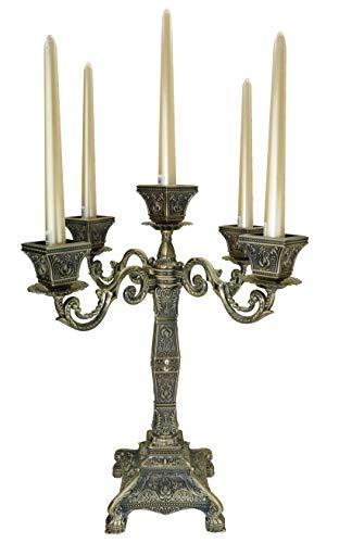 Dongjiang Portacandela con 5 Braccia Candelabra European Stile portacandele in Metallo per la Decorazione di Natale Matrimonio casa (Bronzo,d'oro) (Bronze(Stile Tazza Quadrat)a)