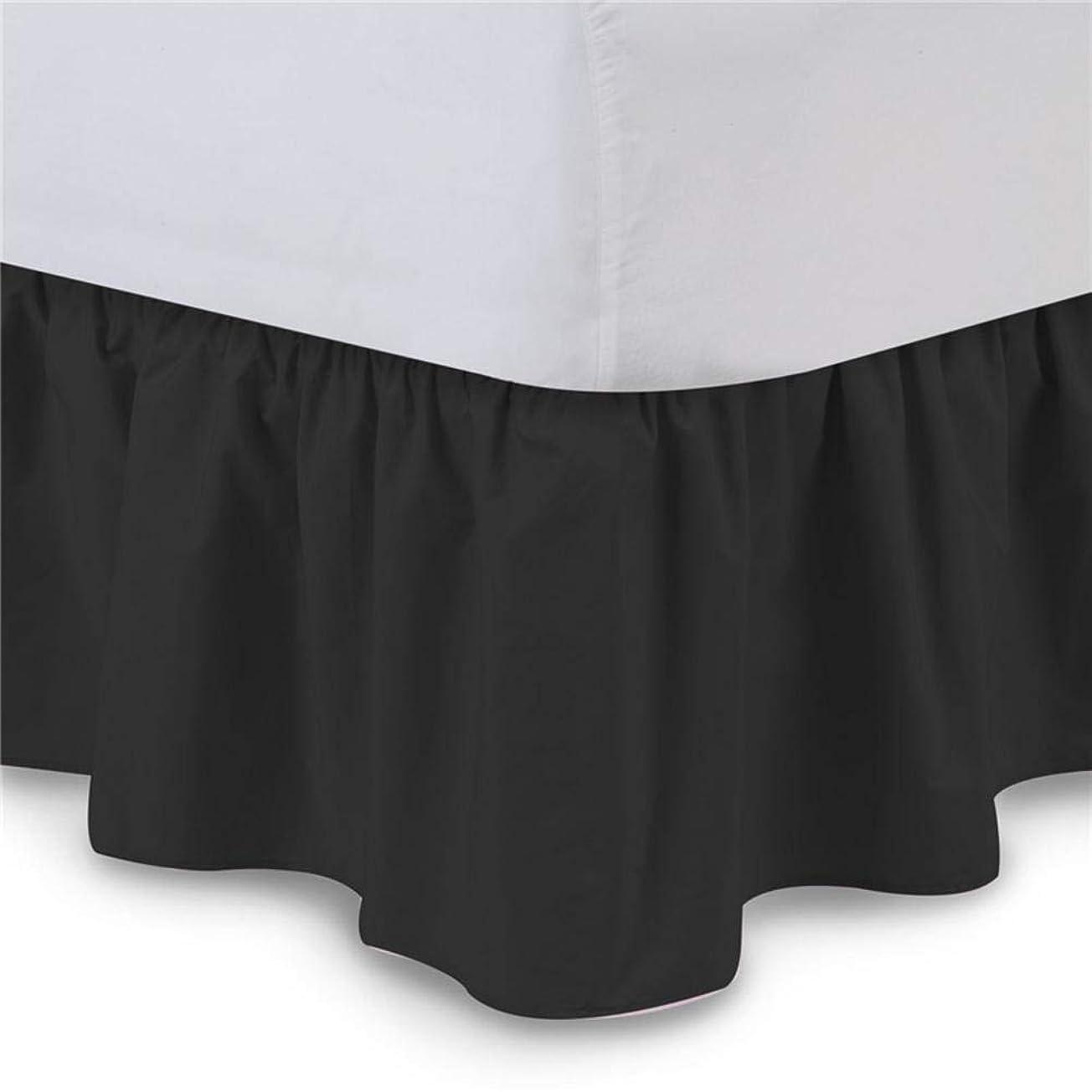 質素な同行する要求ベッドスカート 無地 ピュアカラーイージーフィット ベッドスカート ホテル弾性 バンドなしでベッド 表面ラップなし クイーンダストラッフル
