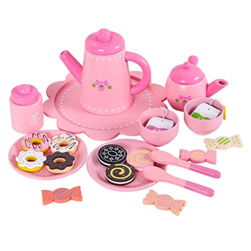 TOYANDONA 1 Set Pretend Play Princess Tea Time Set, Best Tea Party Gift Set with Food Accessories for Toddlers and Little Girls
