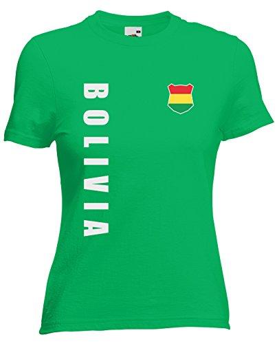 Bolivien Bolivia Damen T-Shirt Trikot Wunschname Wunschnummer (Maigrün, M)