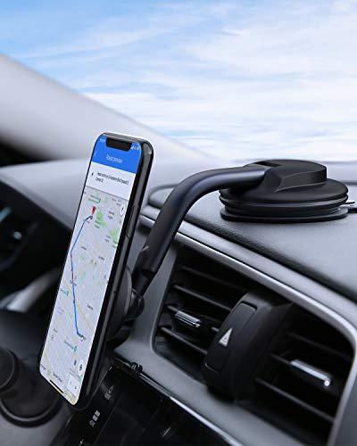 AUKEY Porta Cellulare Auto Magnetico 360 Gradi di Rotazione Cruscotto Supporto Smartphone Auto Universale per iPhone12/11/11 PRO/XS Max / 8, Samsung Galaxy S10+, Huawei e GPS Dispositivi, Nero