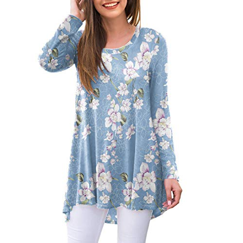 AWULIFFAN Women's Casual Long Sleeve Round Neck Loose Tunic T Shirt Blouse Tops (Flower Light Blue,Large)