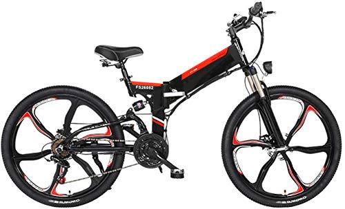 Bici electrica, Bici de montaña plegable eléctrico, 26 '' de bicicleta eléctrica E-Bici 21 de velocidad de engranajes y tres modos de funcionamiento.con extraíble 48V 10 / 12.8AH de iones de litio del