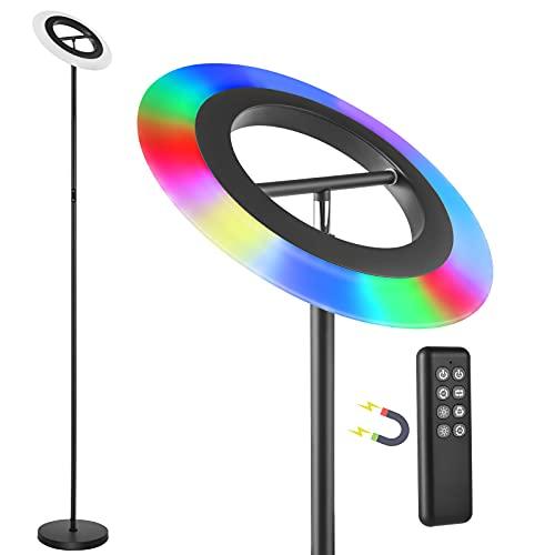 Anten Lámpara de pie LED con cambio de color con mando a distancia, temperatura de color y brillo regulable sin niveles, perfecta como lámpara de ambiente para dormitorio, salón o sala de juegos