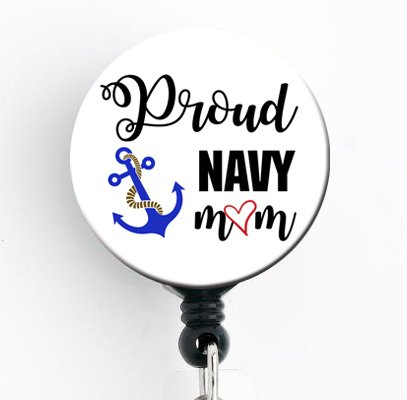 Proud Navy Mom - Retractable Badge Reel with Swivel Clip and Extra-Long 34 inch Cord - Badge Holder/Military/Mom Badge/Nurse Badge