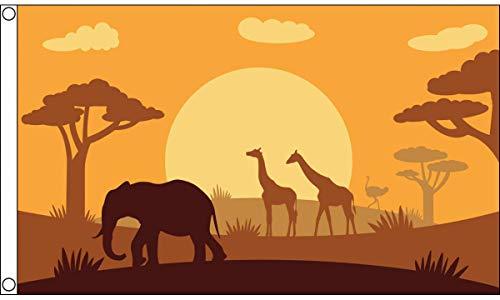 AZ FLAG Flagge Tiere AFRIKANISCHE SAVANNE 150x90cm - Tier-Silhouette Fahne 90 x 150 cm - flaggen Top Qualität