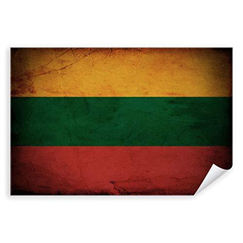 Postereck - 0308 - Vintage Flagge, Fahne Litauen Vilnius - Unterricht Klassenzimmer Schule Wandposter Fotoposter Bilder Wandbild Wandbilder - Leinwand - 100,0 cm x 75,0 cm